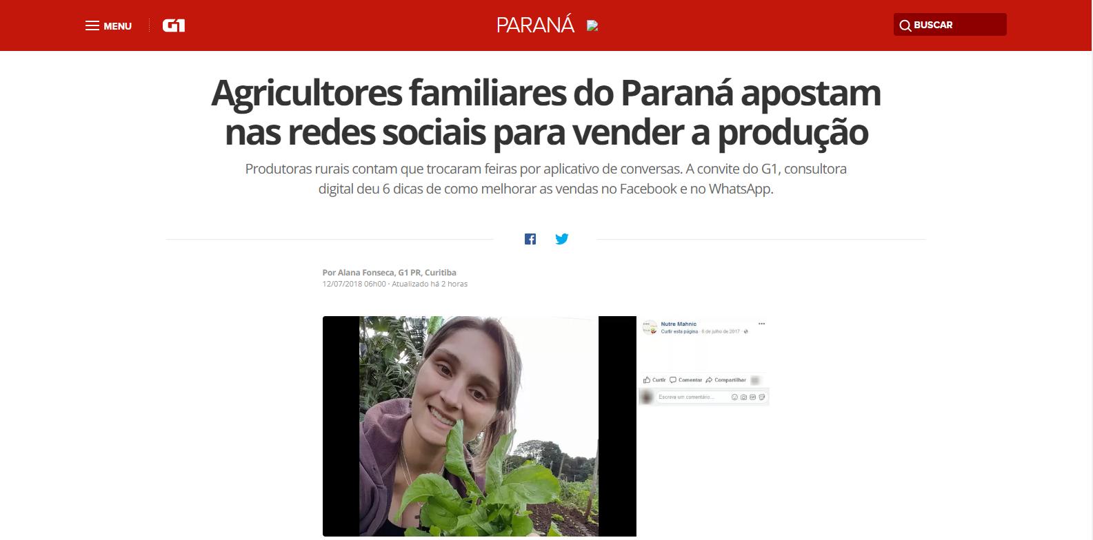 Agricultores familiares do Paraná apostam nas redes sociais para vender a produção